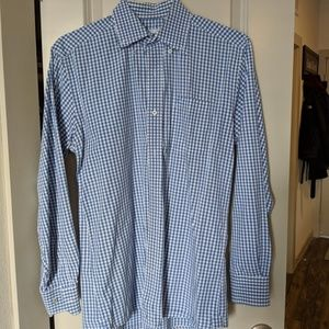 Southern Tide Blue and White Long Sleeve Button Up